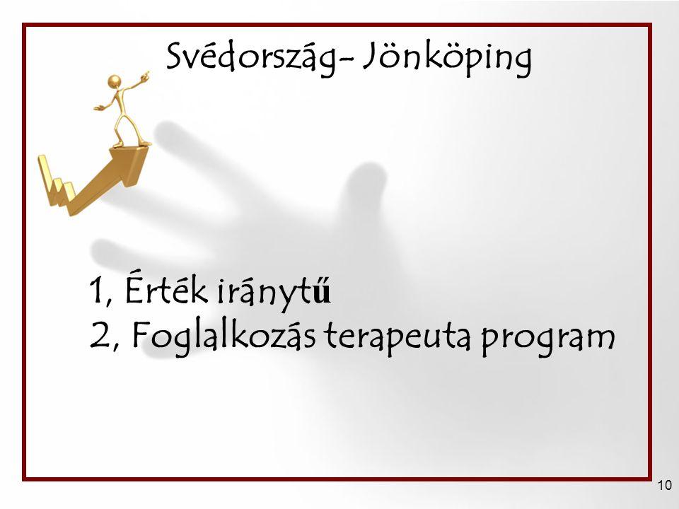Svédország- Jönköping 10 1, Érték irányt ű 2, Foglalkozás terapeuta program