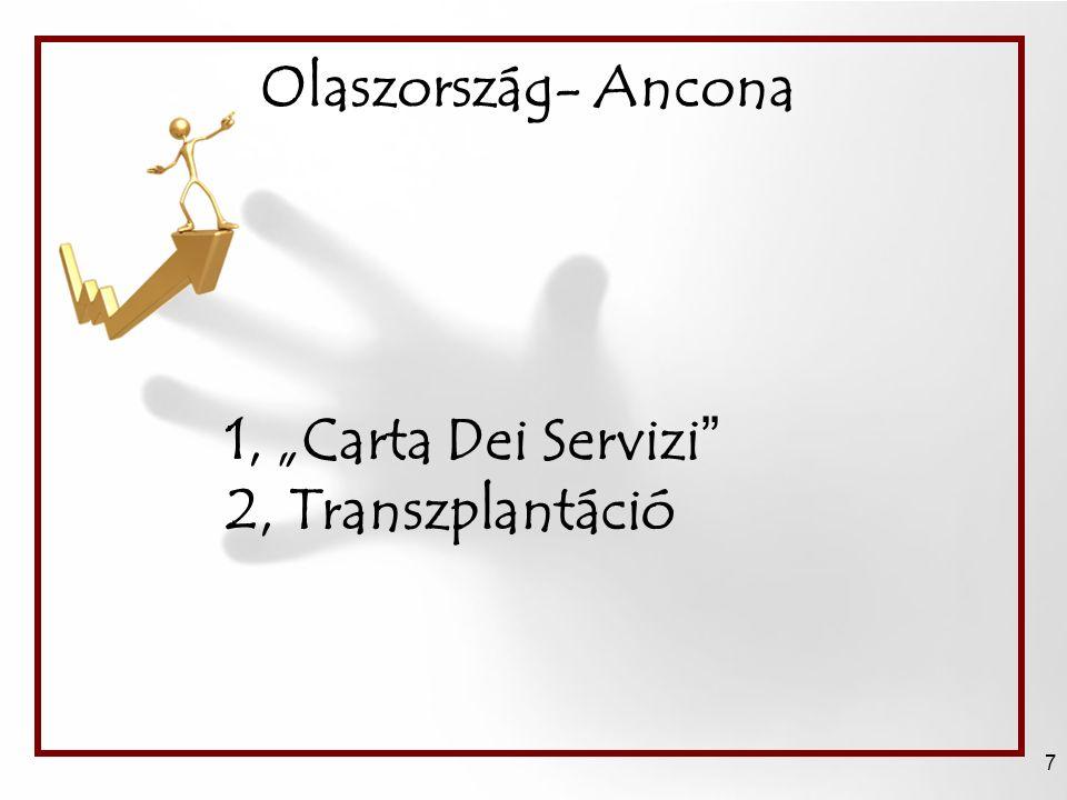 """Olaszország- Ancona 7 1, """"Carta Dei Servizi 2, Transzplantáció"""