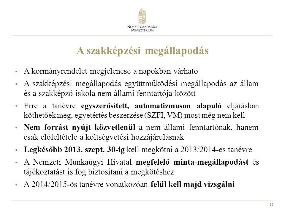 11 A szakképzési megállapodás A kormányrendelet megjelenése a napokban várható A szakképzési megállapodás együttműködési megállapodás az állam és a szakképző iskola nem állami fenntartója között Erre a tanévre egyszerűsített, automatizmuson alapuló eljárásban köthetőek meg, egyetértés beszerzése (SZFI, VM) most még nem kell Nem forrást nyújt közvetlenül a nem állami fenntartónak, hanem csak előfeltétele a költségvetési hozzájárulásnak Legkésőbb 2013.
