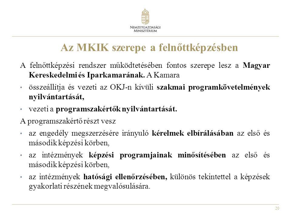 20 Az MKIK szerepe a felnőttképzésben A felnőttképzési rendszer működtetésében fontos szerepe lesz a Magyar Kereskedelmi és Iparkamarának.