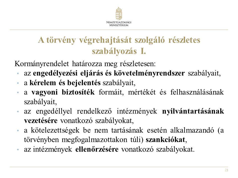 21 A törvény végrehajtását szolgáló részletes szabályozás I.