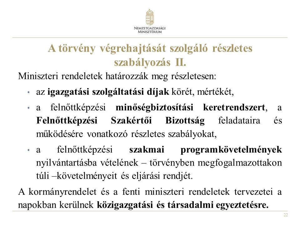 22 A törvény végrehajtását szolgáló részletes szabályozás II.