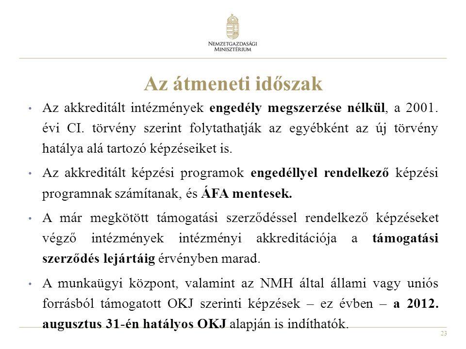 23 Az átmeneti időszak Az akkreditált intézmények engedély megszerzése nélkül, a 2001.