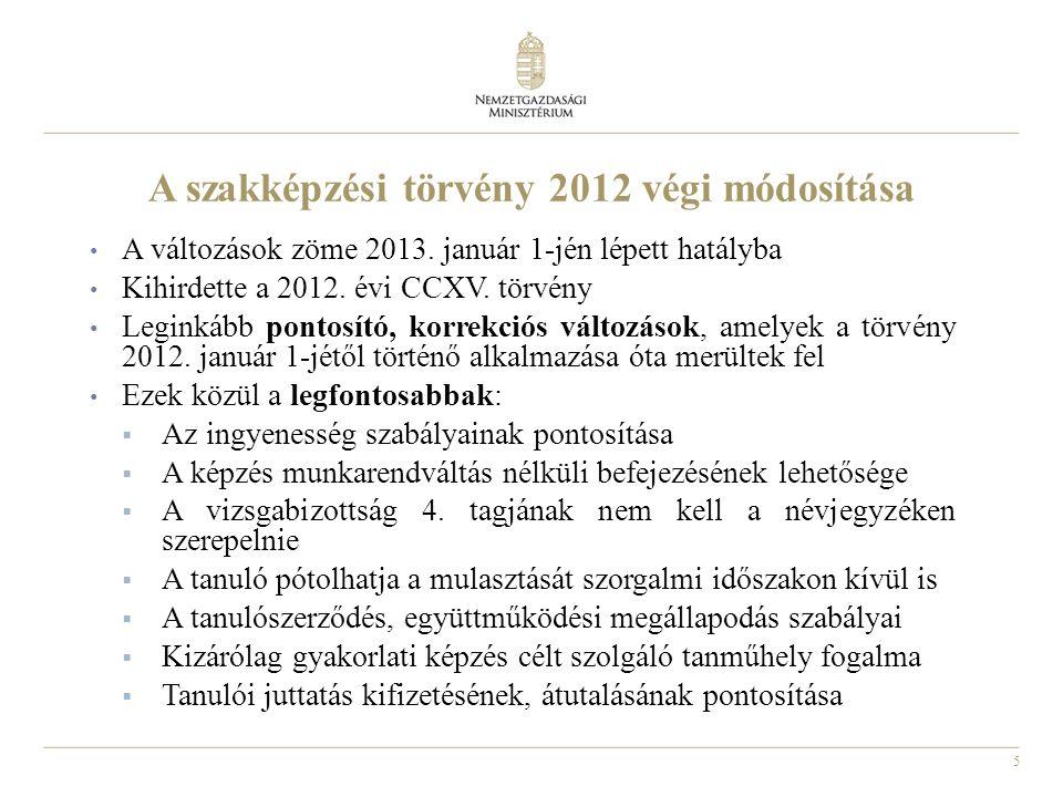 6 A szakmai követelménymodulok teljes körű megjelentetése A szakmai és vizsgakövetelmények (szkvk-k) a szakmai követelménymodulból épülnek fel 2012 nyarán összesen 77+2 szakmára 320 szakmai követelménymodul jelent meg [217/2012.