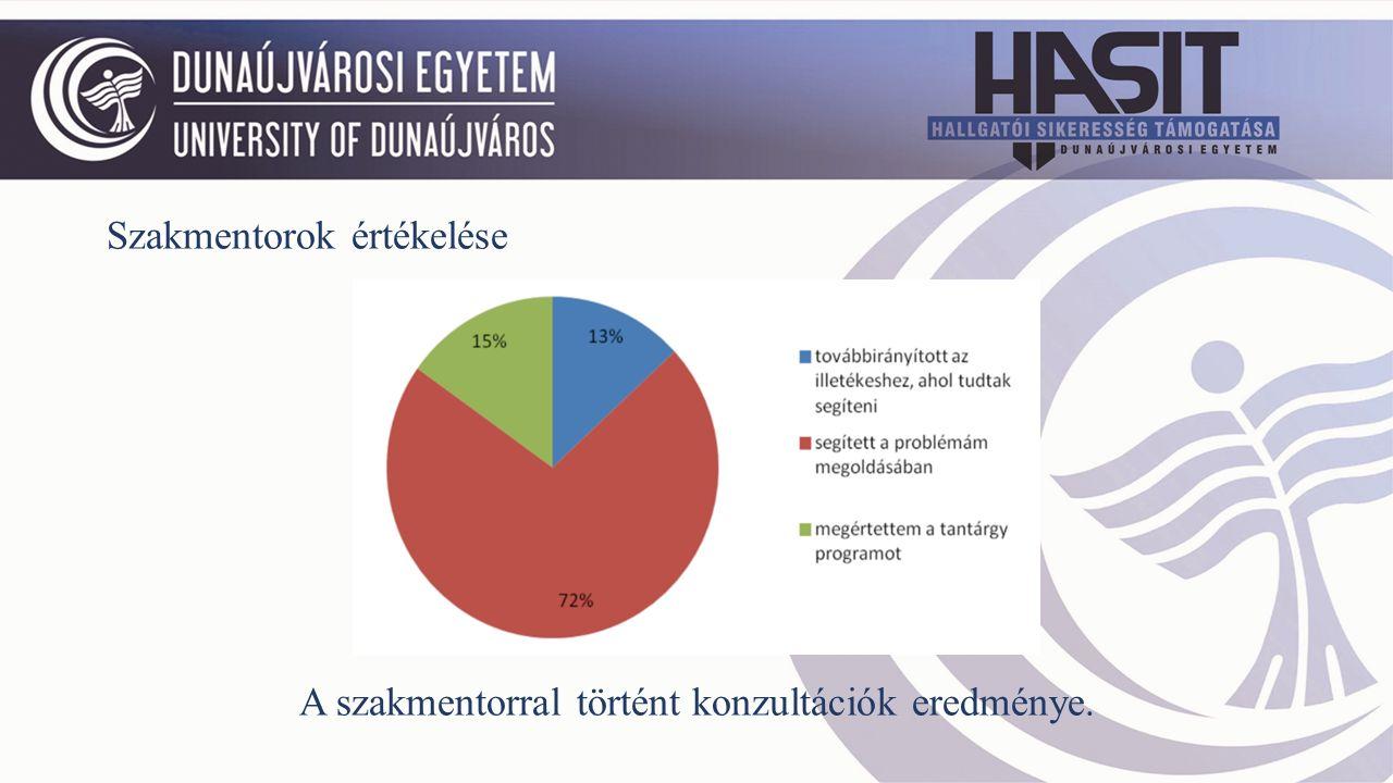 Szakmentorok értékelése A szakmentorral történt konzultációk eredménye.