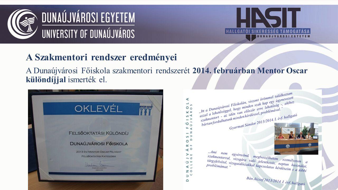 A Szakmentori rendszer eredményei A Dunaújvárosi Főiskola szakmentori rendszerét 2014.