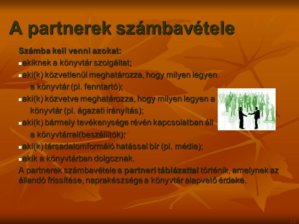 A partnerek számbavétele Számba kell venni azokat: akiknek a könyvtár szolgáltat; akiknek a könyvtár szolgáltat; aki(k) közvetlenül meghatározza, hogy