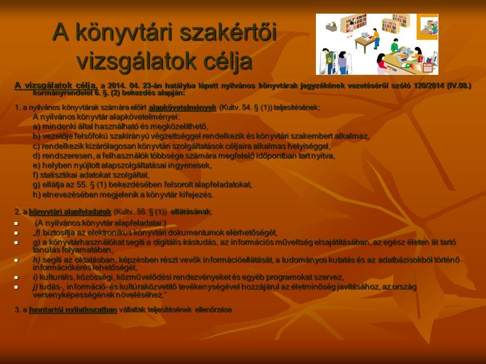A könyvtári szakértői vizsgálatok célja A vizsgálatok célja, a 2014. 04. 23-án hatályba lépett nyilvános könyvtárak jegyzékének vezetéséről szóló 120/
