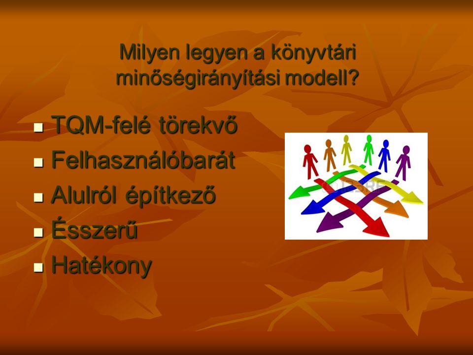Milyen legyen a könyvtári minőségirányítási modell? TQM-felé törekvő TQM-felé törekvő Felhasználóbarát Felhasználóbarát Alulról építkező Alulról építk