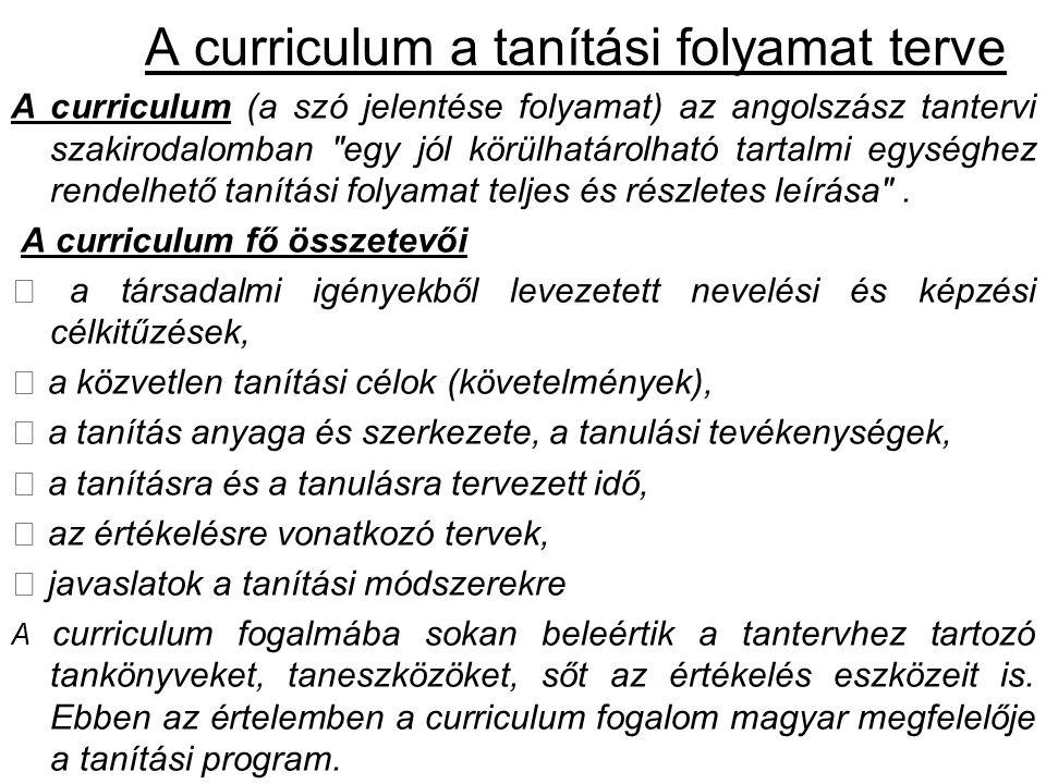 A curriculum a tanítási folyamat terve A curriculum (a szó jelentése folyamat) az angolszász tantervi szakirodalomban egy jól körülhatárolható tartalmi egységhez rendelhető tanítási folyamat teljes és részletes leírása .