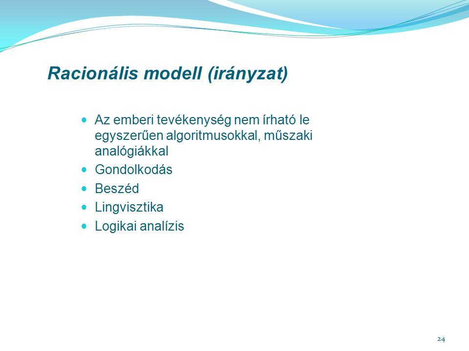 24 Racionális modell (irányzat) Az emberi tevékenység nem írható le egyszerűen algoritmusokkal, műszaki analógiákkal Gondolkodás Beszéd Lingvisztika Logikai analízis
