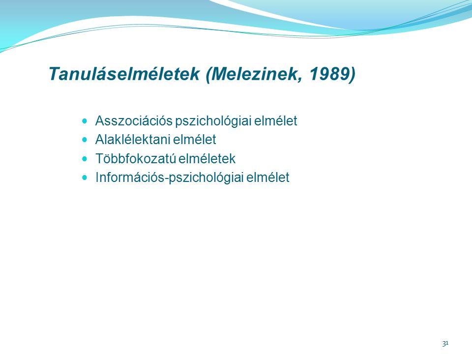 31 Tanuláselméletek (Melezinek, 1989) Asszociációs pszichológiai elmélet Alaklélektani elmélet Többfokozatú elméletek Információs-pszichológiai elméle