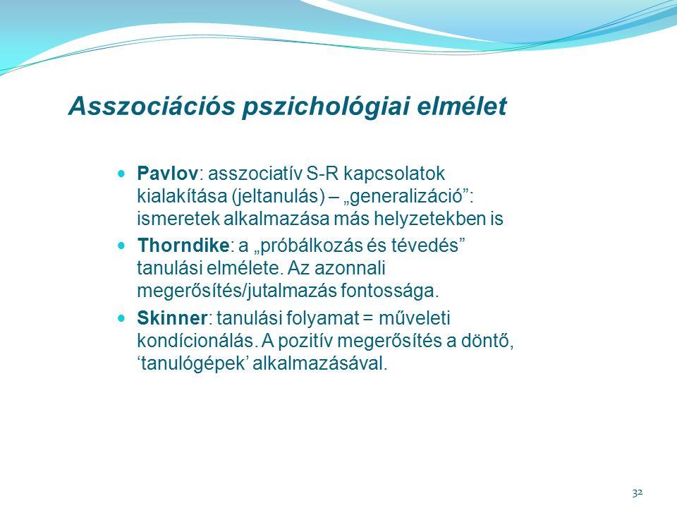 """32 Asszociációs pszichológiai elmélet Pavlov: asszociatív S-R kapcsolatok kialakítása (jeltanulás) – """"generalizáció : ismeretek alkalmazása más helyzetekben is Thorndike: a """"próbálkozás és tévedés tanulási elmélete."""