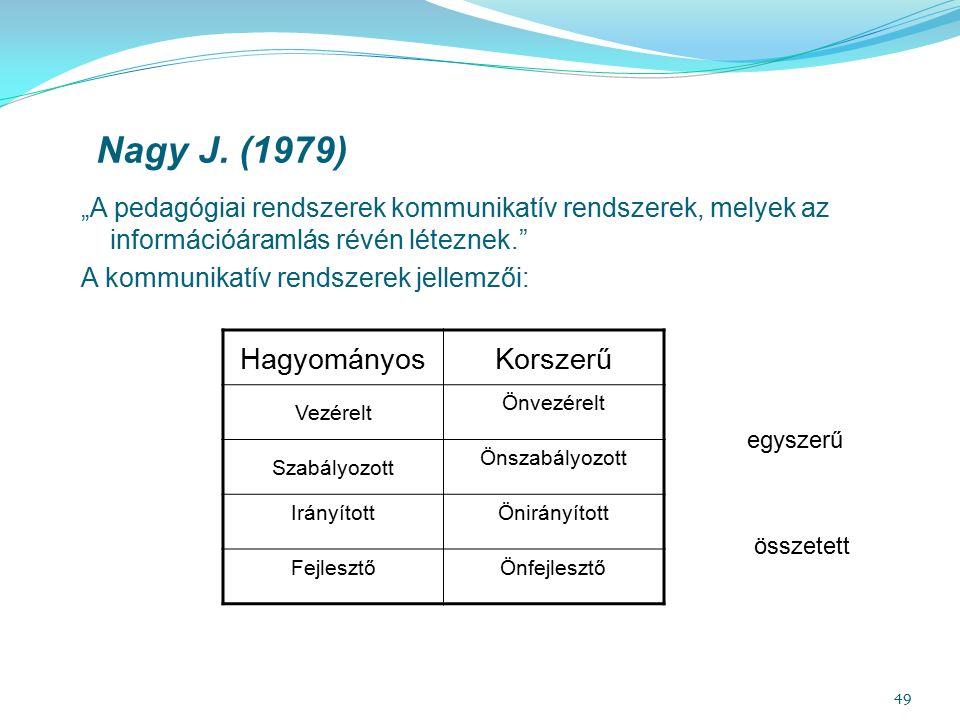 """49 Nagy J. (1979) """"A pedagógiai rendszerek kommunikatív rendszerek, melyek az információáramlás révén léteznek."""" A kommunikatív rendszerek jellemzői:"""