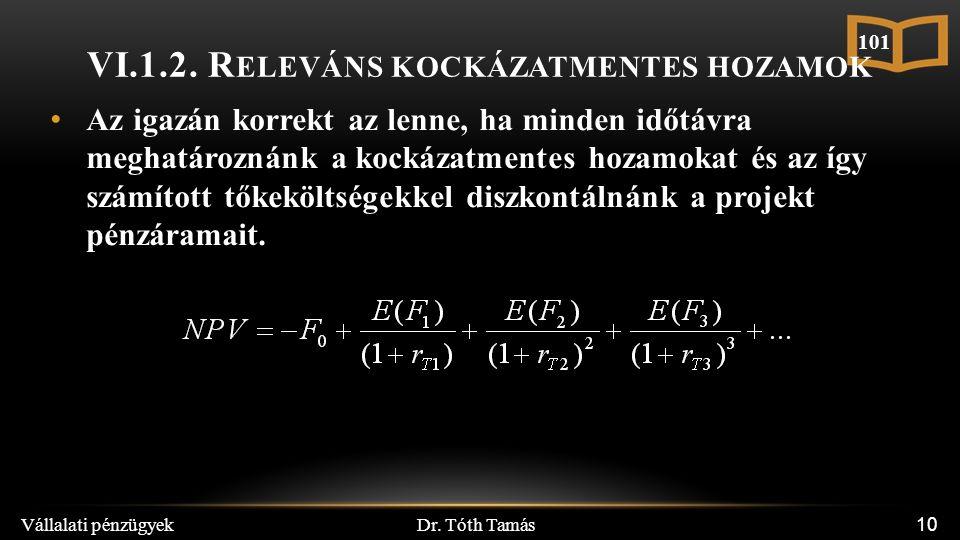 Dr. Tóth Tamás Vállalati pénzügyek 10 VI.1.2. R ELEVÁNS KOCKÁZATMENTES HOZAMOK Az igazán korrekt az lenne, ha minden időtávra meghatároznánk a kockáza