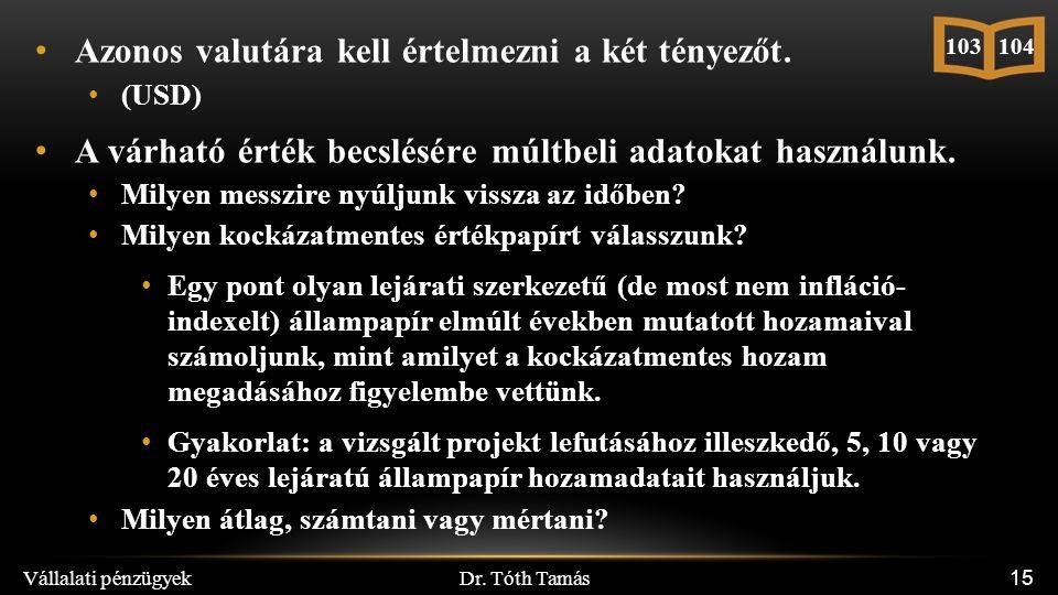 Dr. Tóth Tamás Vállalati pénzügyek 15 Azonos valutára kell értelmezni a két tényezőt. (USD) A várható érték becslésére múltbeli adatokat használunk. M