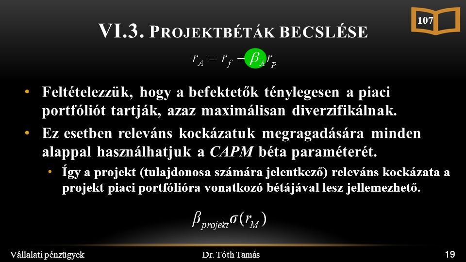 Dr. Tóth Tamás Vállalati pénzügyek 19 VI.3. P ROJEKTBÉTÁK BECSLÉSE Feltételezzük, hogy a befektetők ténylegesen a piaci portfóliót tartják, azaz maxim