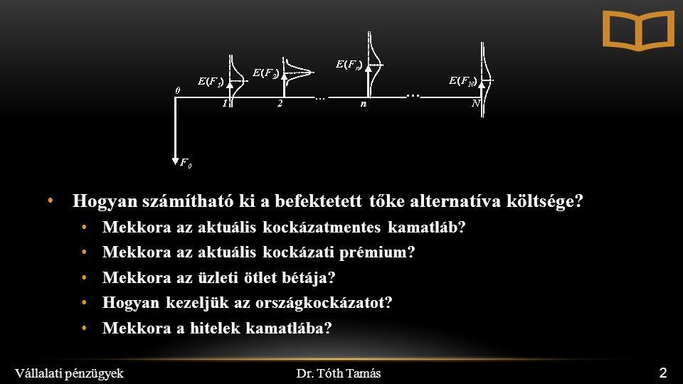 Dr. Tóth Tamás Vállalati pénzügyek 2 Hogyan számítható ki a befektetett tőke alternatíva költsége? Mekkora az aktuális kockázatmentes kamatláb? Mekkor
