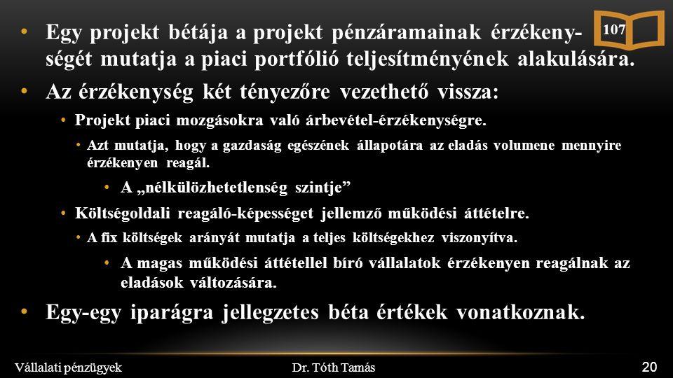 Dr. Tóth Tamás Vállalati pénzügyek 20 Egy projekt bétája a projekt pénzáramainak érzékeny- ségét mutatja a piaci portfólió teljesítményének alakulásár