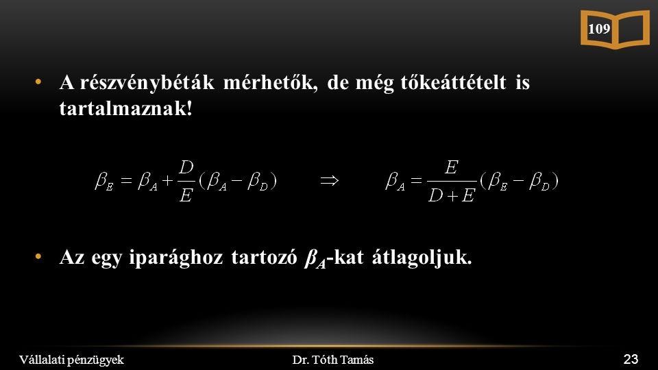 Dr. Tóth Tamás Vállalati pénzügyek 23 A részvénybéták mérhetők, de még tőkeáttételt is tartalmaznak! Az egy iparághoz tartozó β A -kat átlagoljuk. 109