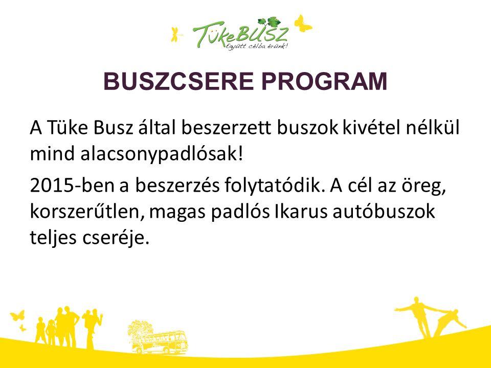 BUSZCSERE PROGRAM A Tüke Busz által beszerzett buszok kivétel nélkül mind alacsonypadlósak! 2015-ben a beszerzés folytatódik. A cél az öreg, korszerűt
