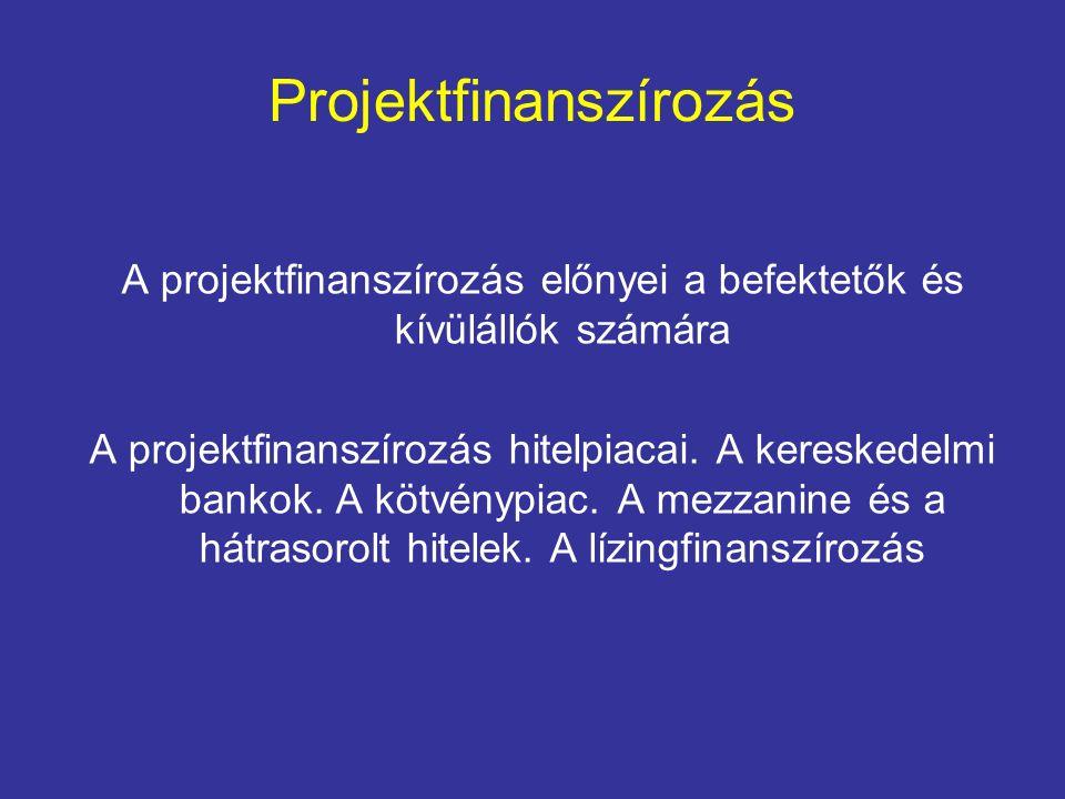 Projektfinanszírozás előnyei Befektetők számára Magas tőkeáttétel Adókedvezmények Mérlegen kívüli finanszírozás Hitelfelvevő képesség Korlátozott kockázat Kockázatmegosztás/közös vállalkozások Hosszú távú finanszírozás Nagyobb hitelek Egyenlőtlen partneri viszony