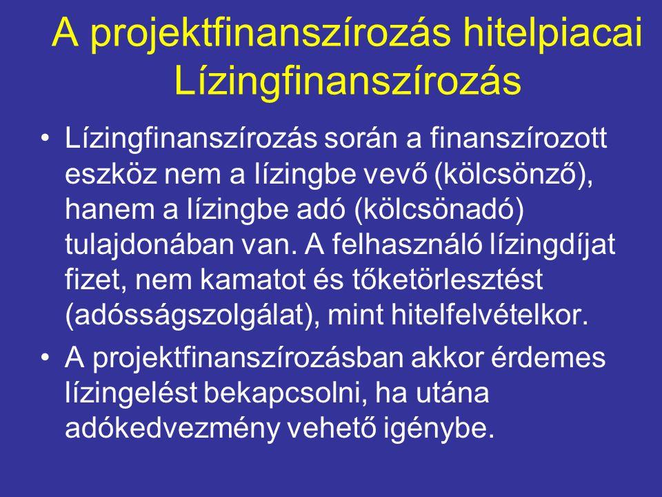 A projektfinanszírozás hitelpiacai Lízingfinanszírozás Lízingfinanszírozás során a finanszírozott eszköz nem a lízingbe vevő (kölcsönző), hanem a lízi