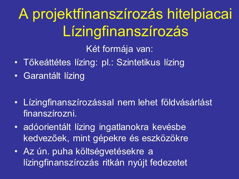 A projektfinanszírozás hitelpiacai Lízingfinanszírozás Két formája van: Tőkeáttétes lízing: pl.: Szintetikus lízing Garantált lízing Lízingfinanszíroz