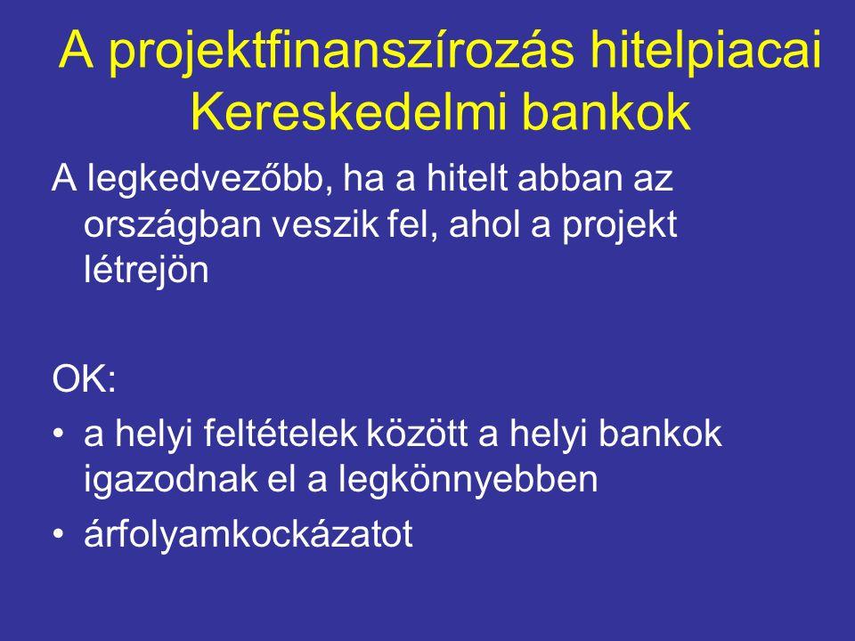 A projektfinanszírozás hitelpiacai Kereskedelmi bankok A legkedvezőbb, ha a hitelt abban az országban veszik fel, ahol a projekt létrejön OK: a helyi feltételek között a helyi bankok igazodnak el a legkönnyebben árfolyamkockázatot