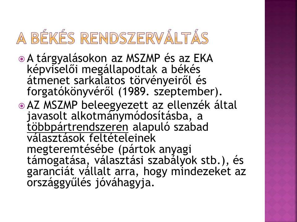 A tárgyalásokon az MSZMP és az EKA képviselői megállapodtak a békés átmenet sarkalatos törvényeiről és forgatókönyvéről (1989.