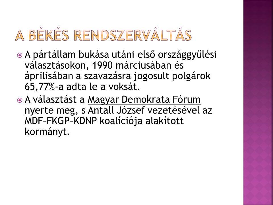  A pártállam bukása utáni első országgyűlési választásokon, 1990 márciusában és áprilisában a szavazásra jogosult polgárok 65,77%-a adta le a voksát.