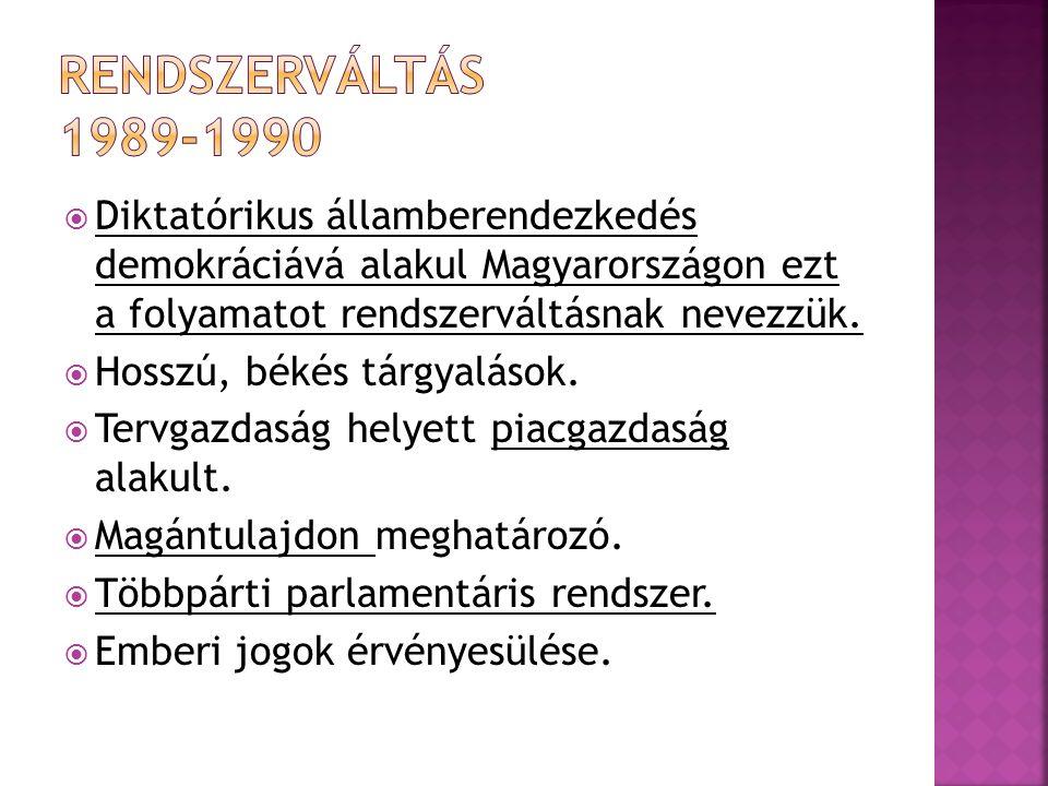  Diktatórikus államberendezkedés demokráciává alakul Magyarországon ezt a folyamatot rendszerváltásnak nevezzük.