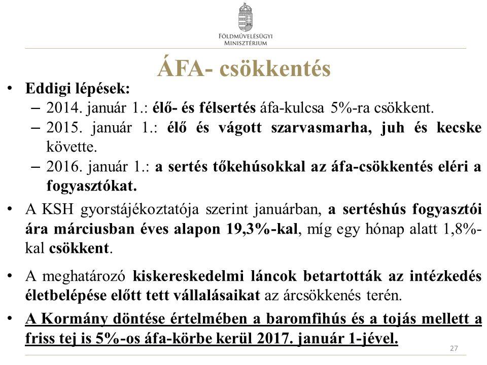 ÁFA- csökkentés Eddigi lépések: – 2014. január 1.: élő- és félsertés áfa-kulcsa 5%-ra csökkent.