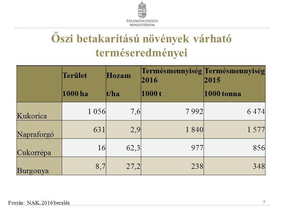 Őszi betakarítású növények várható terméseredményei 4 Forrás: NAK, 2016 becslés TerületHozam Termésmennyiség 2016 Termésmennyiség 2015 1000 hat/ha1000 t1000 tonna Kukorica 1 0567,67 9926 474 Napraforgó 6312,91 8401 577 Cukorrépa 1662,3977856 Burgonya 8,727,2238348