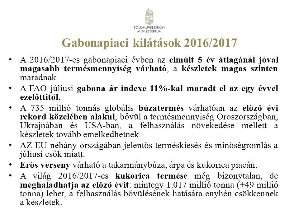 Sertéshízó állatjóléti támogatás 2016.évi keretösszeg: 9,1 Mrd Ft 2017.