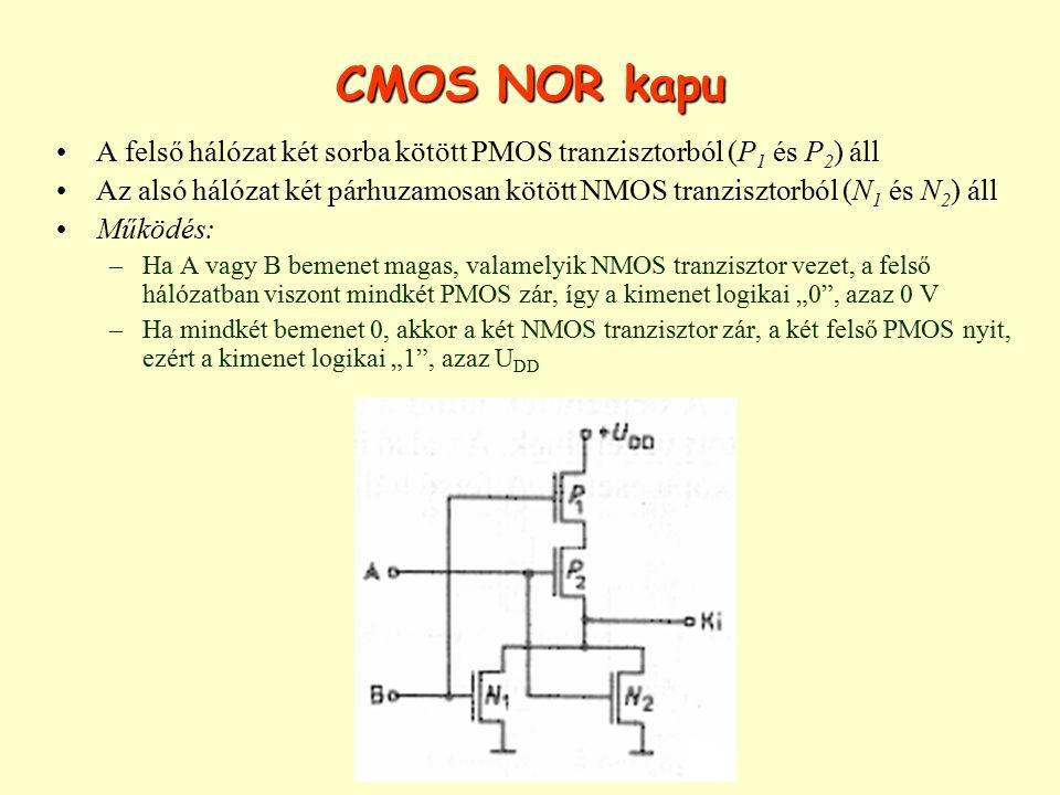 CMOS NOR kapu A felső hálózat két sorba kötött PMOS tranzisztorból (P 1 és P 2 ) áll Az alsó hálózat két párhuzamosan kötött NMOS tranzisztorból (N 1