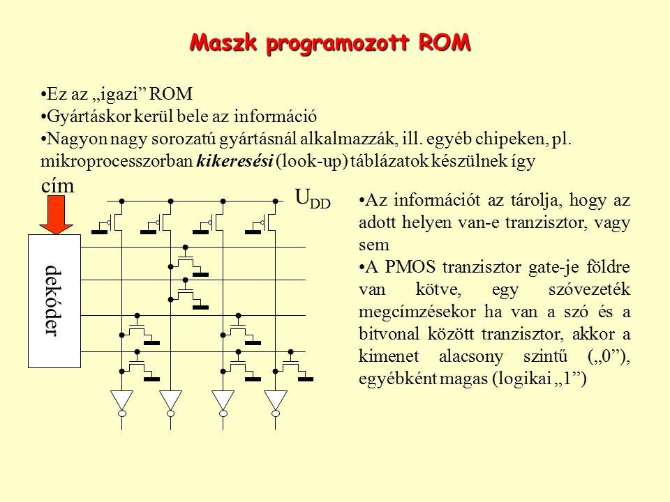"""Maszk programozott ROM Ez az """"igazi"""" ROM Gyártáskor kerül bele az információ Nagyon nagy sorozatú gyártásnál alkalmazzák, ill. egyéb chipeken, pl. mik"""