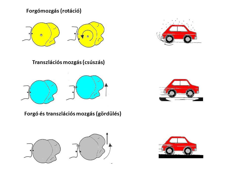 Forgómozgás (rotáció) Transzlációs mozgás (csúszás) Forgó és transzlációs mozgás (gördülés)