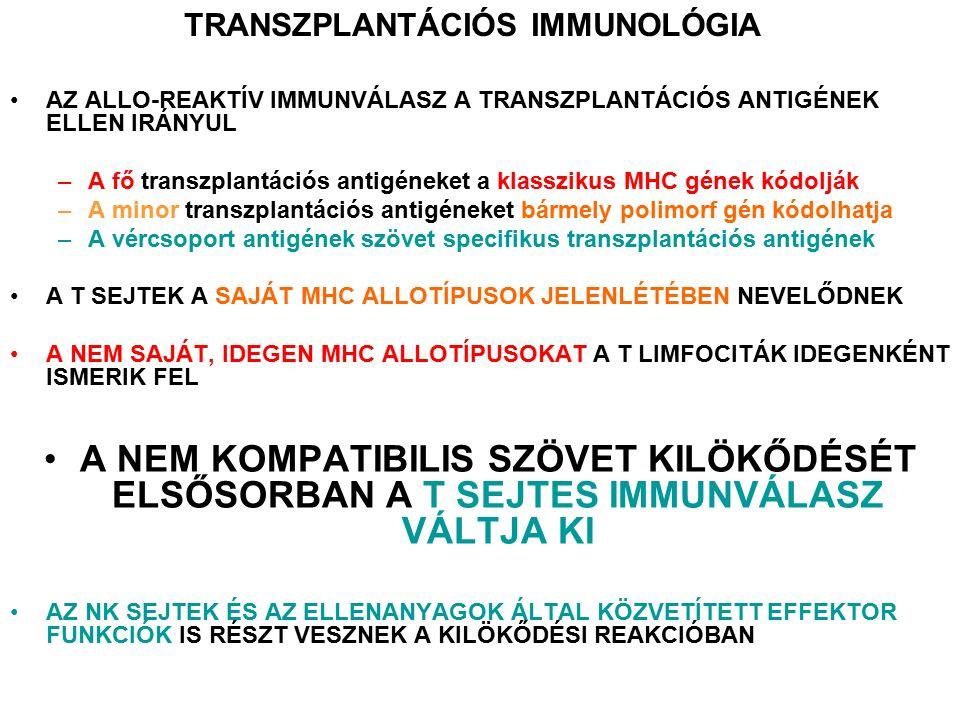A transzplantátum kilökődésének egyéb lehetőségei FTY720 (Fingolimod): Myriocin gomba toxin szintetikus analógja Sphingosin-szerű szerkezet Az S1P receptor agonistája, módosítja a T-sejtek vándorlását, Megrekednek a nyirokcsomókban A perifériás T sejtek száma csökken, de nem okoz jelentős T-sejt károsodást Monoclonal antibodies: T cell, B cell deletion, blockage of costimulation, inhibition of inflammation, plasma ferezis