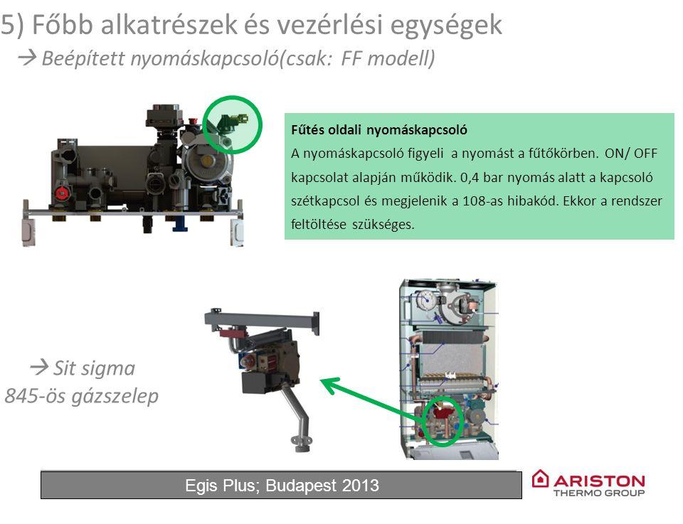 June'11Egis Plus 11 Fűtés oldali nyomáskapcsoló A nyomáskapcsoló figyeli a nyomást a fűtőkörben. ON/ OFF kapcsolat alapján működik. 0,4 bar nyomás ala