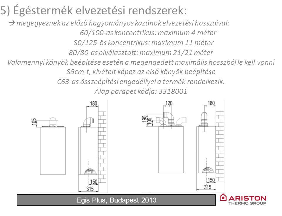 June'11Egis Plus 12 5) Égéstermék elvezetési rendszerek:  megegyeznek az előző hagyományos kazánok elvezetési hosszaival: 60/100-as koncentrikus: maximum 4 méter 80/125-ös koncentrikus: maximum 11 méter 80/80-as elválasztott: maximum 21/21 méter Valamennyi könyök beépítése esetén a megengedett maximális hosszból le kell vonni 85cm-t, kivételt képez az első könyök beépítése C63-as összeépítési engedéllyel a termék rendelkezik.