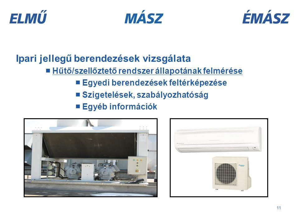 11 Ipari jellegű berendezések vizsgálata ■ Hűtő/szellőztető rendszer állapotának felmérése ■ Egyedi berendezések feltérképezése ■ Szigetelések, szabályozhatóság ■ Egyéb információk