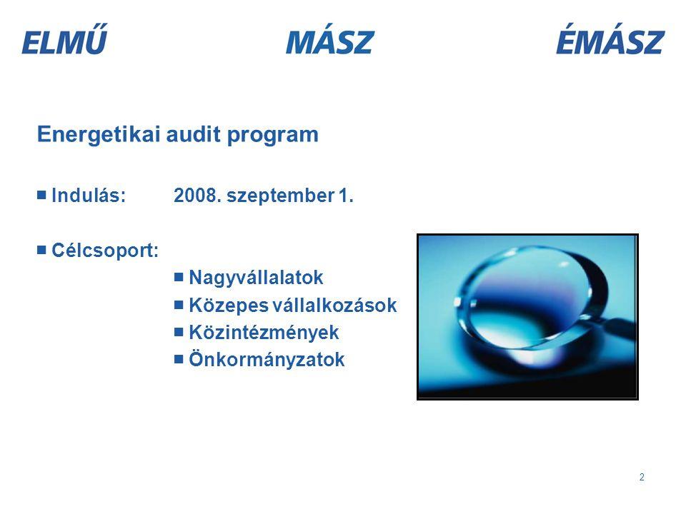 2 Energetikai audit program ■ Indulás: 2008. szeptember 1.