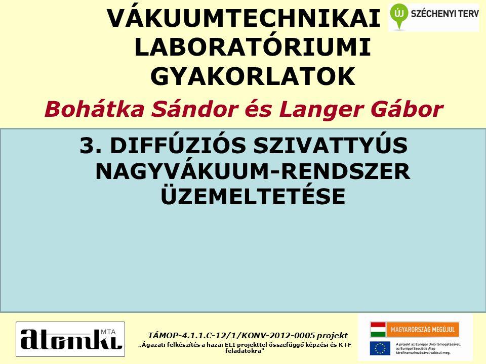 VÁKUUMTECHNIKAI LABORATÓRIUMI GYAKORLATOK Bohátka Sándor és Langer Gábor 3. DIFFÚZIÓS SZIVATTYÚS NAGYVÁKUUM-RENDSZER ÜZEMELTETÉSE TÁMOP-4.1.1.C-12/1/K