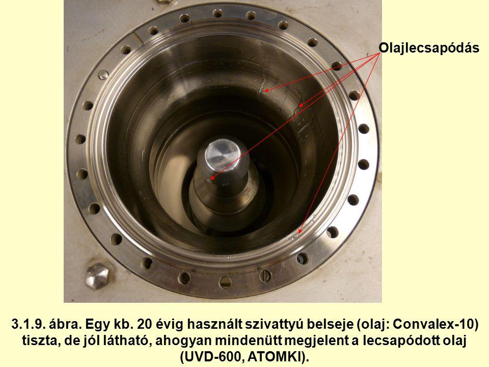 3.1.9. ábra. Egy kb. 20 évig használt szivattyú belseje (olaj: Convalex-10) tiszta, de jól látható, ahogyan mindenütt megjelent a lecsapódott olaj (UV