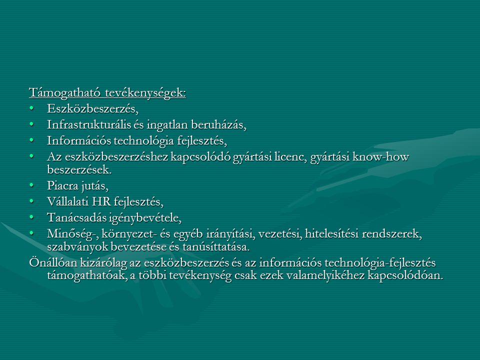 Támogatható tevékenységek: Eszközbeszerzés,Eszközbeszerzés, Infrastrukturális és ingatlan beruházás,Infrastrukturális és ingatlan beruházás, Informáci