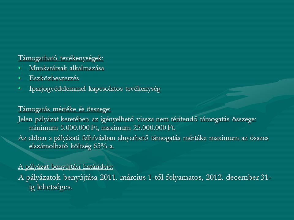Támogatható tevékenységek: Munkatársak alkalmazásaMunkatársak alkalmazása EszközbeszerzésEszközbeszerzés Iparjogvédelemmel kapcsolatos tevékenységIpar