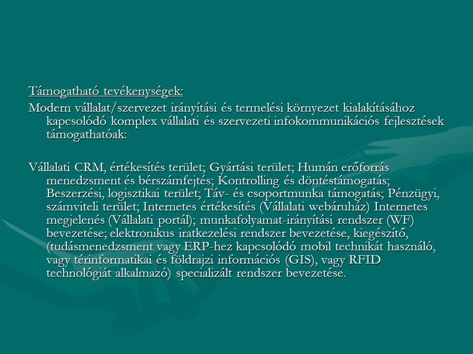 Támogatható tevékenységek: Modern vállalat/szervezet irányítási és termelési környezet kialakításához kapcsolódó komplex vállalati és szervezeti infok