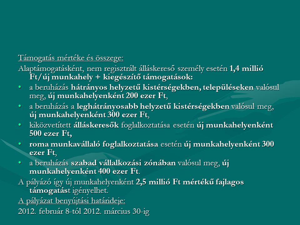 Támogatás mértéke és összege: Alaptámogatásként, nem regisztrált álláskereső személy esetén 1,4 millió Ft/új munkahely + kiegészítő támogatások: a ber