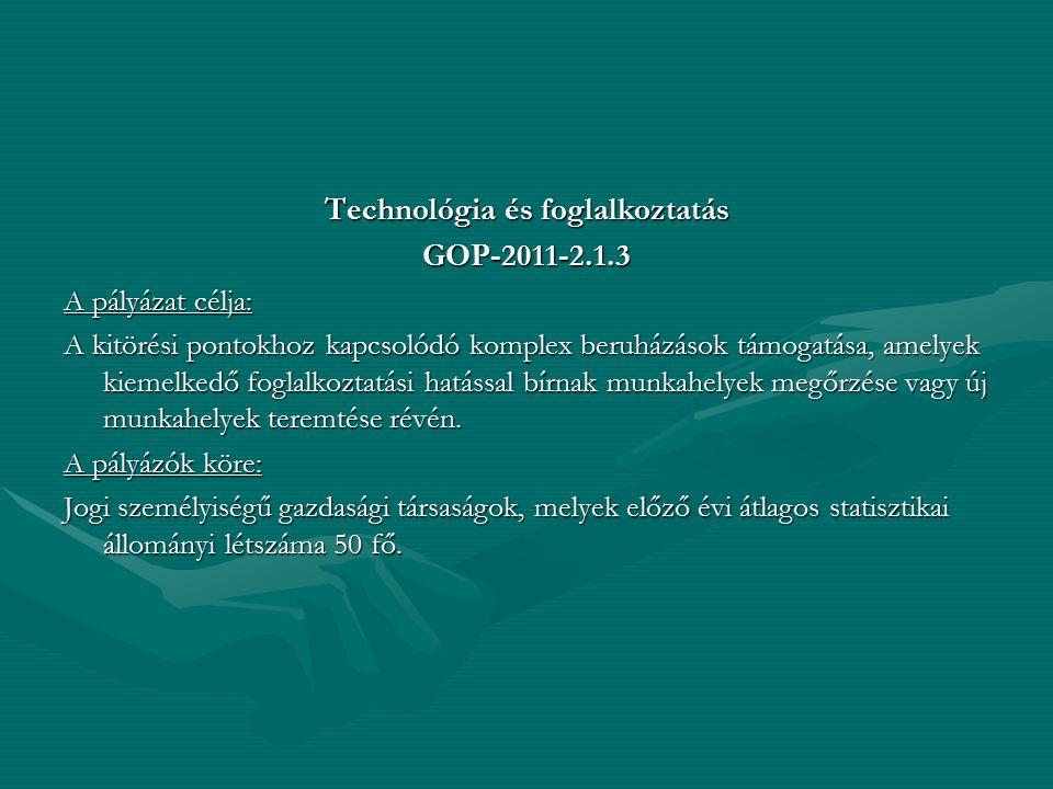 Technológia és foglalkoztatás GOP-2011-2.1.3 A pályázat célja: A kitörési pontokhoz kapcsolódó komplex beruházások támogatása, amelyek kiemelkedő fogl